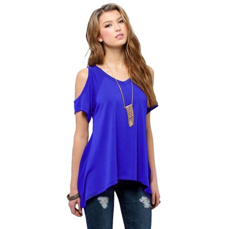 Sexy Summer Tops Short Sleeves for Womens Off Shoulder Pullover Casual Loose T-Shirt Blouse