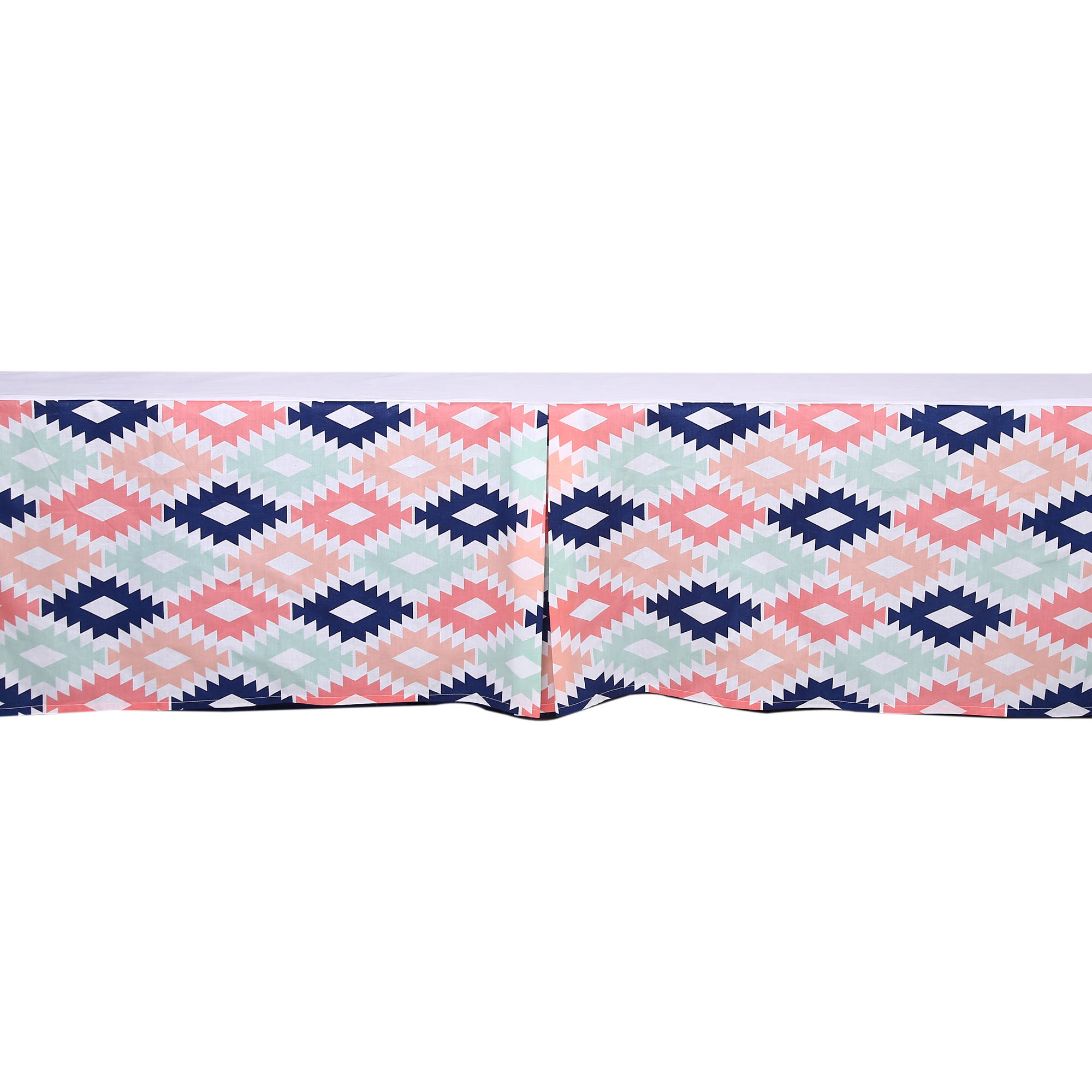Bacati - Emma Aztec Kilim Aqua/Orange/Navy Tailored with 100% Cotton Percale 13 inch drop Crib/Toddler Bed Skirt