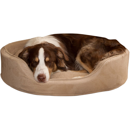 PETMAKER Cuddle Round Suede Terry Pet Bed, Clay