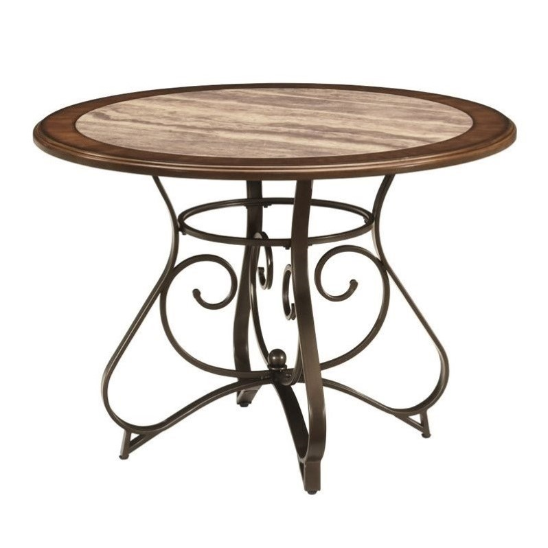 Ashley Hopstand Round Dining Table with Faux Marble Inset in Brown by Ashley Furniture