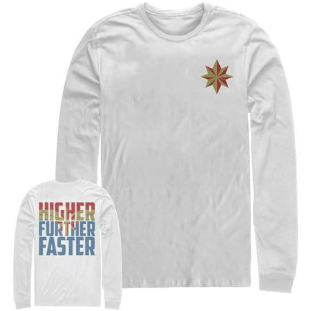 Marvel Men's Captain Marvel Higher Star Long Sleeve T-Shirt (Captain America Long Sleeve)
