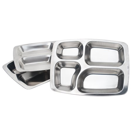 Aspire Cafeteria Food Trays, 304 Stainless Steel Camping Trays, 3 Pcs-4 Sections