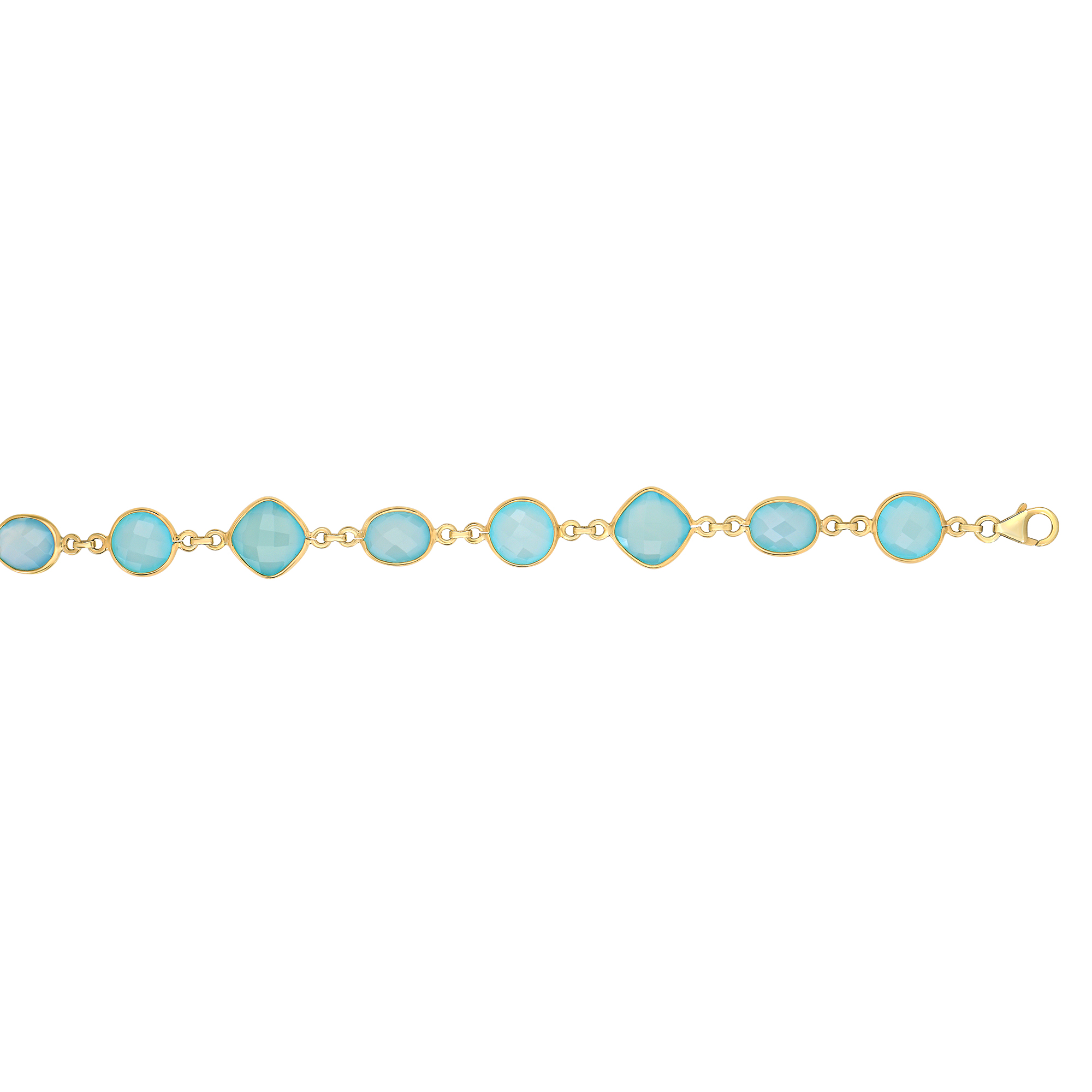 "Sterling Silver Yellow Finish 10mm Aqua Chalcedony Chain Bracelet, 7.5"" by"