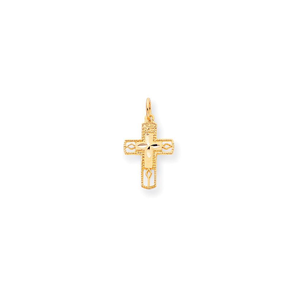 10k Yellow Gold Cross Charm (1in long x 0.6in wide)