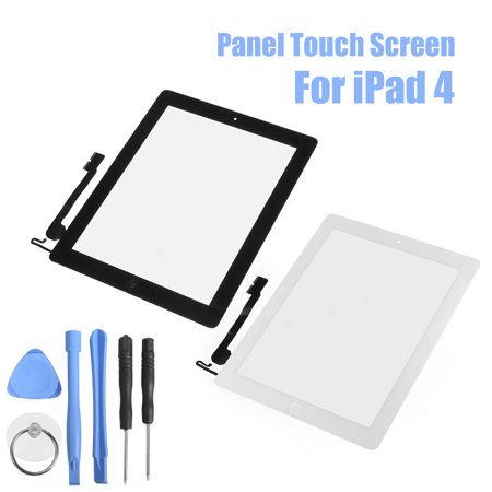 Screen Glass Replacement - Replacement Tool Touch Screen Digitizer Front Glass for IPad 4 With Tools +Scratch-resistant glass+ Adhesive