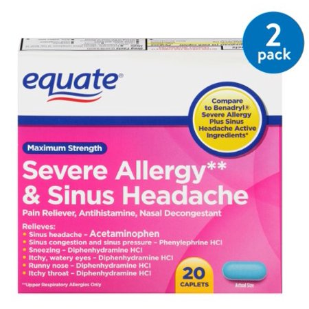 (2 Pack) Equate Maximum Strength Severe Allergy & Sinus Headache Acetaminophen Caplets, 325 mg, 20 (Headache Acetaminophen)