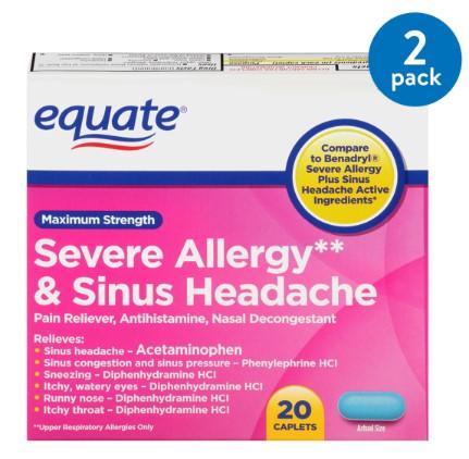 (2 Pack) Equate Maximum Strength Severe Allergy & Sinus Headache Acetaminophen Caplets, 325 mg, 20 Ct