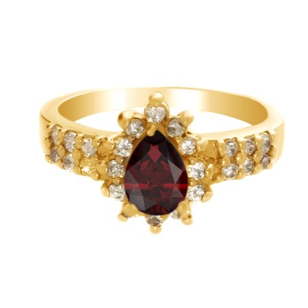 Pear Cluster Ring - Pear Shape Simulated Garnet & White Cubic Zirconia Cluster Ring in 14k Yellow Gold Over Sterling Silver Ring Size : 4