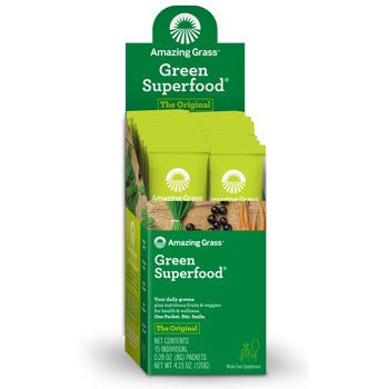 15-Count Amazing Grass Green Superfood Powder Packet, Original
