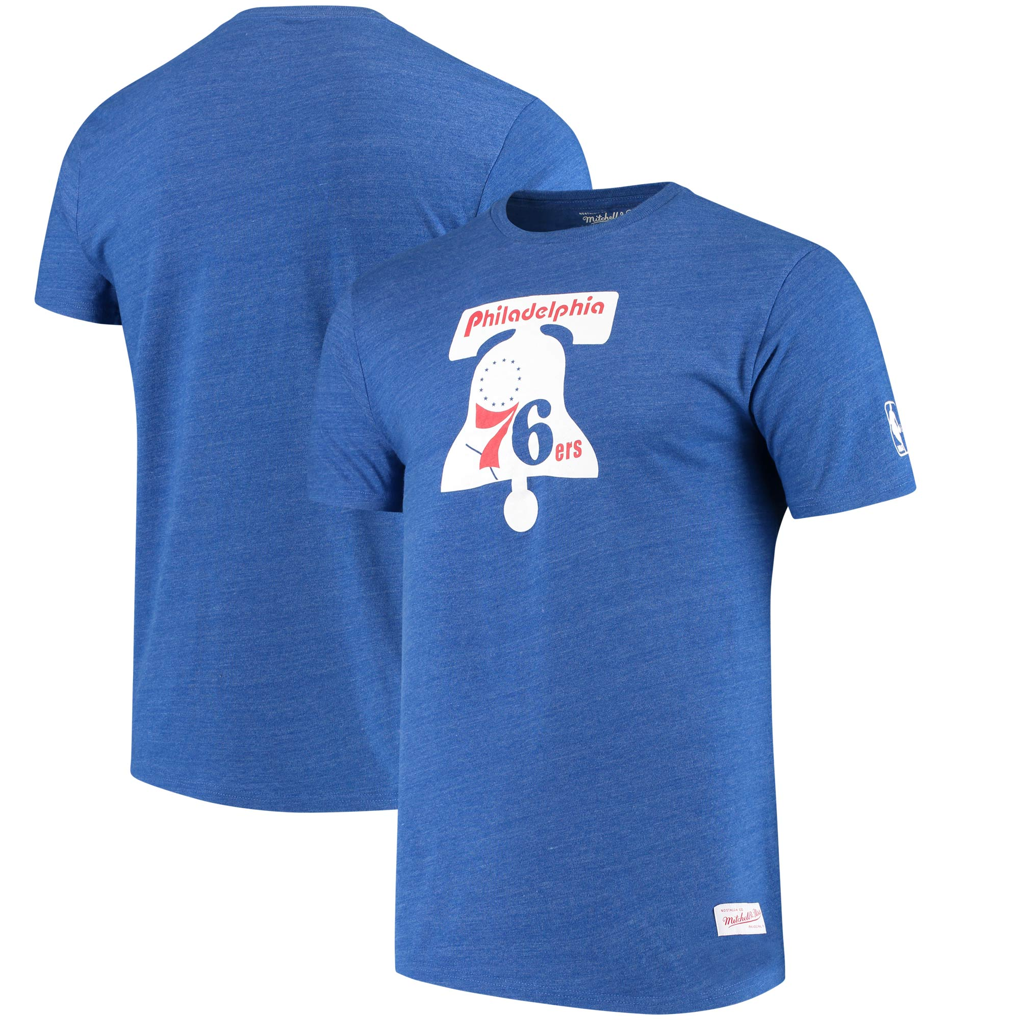Philadelphia 76ers Mitchell & Ness Hardwood Classics Throwback Logo Tri-Blend T-Shirt - Heathered Royal