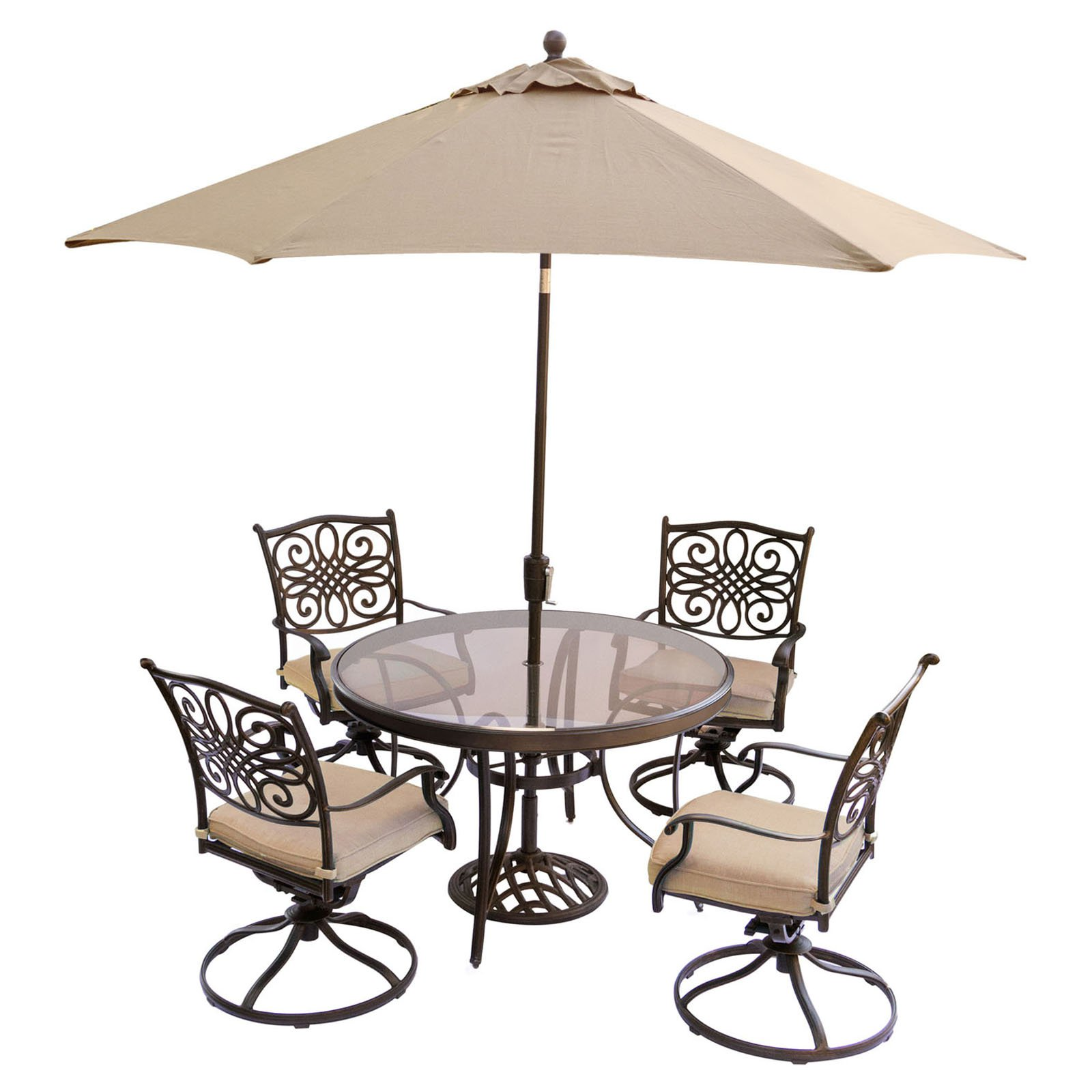 Hanover Outdoor Traditions 5-Piece Glass-Top Dining Set with Swivel Rockers