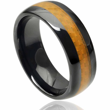 Daxx Mens Ceramic Carbon Fiber Inlay Band  8Mm