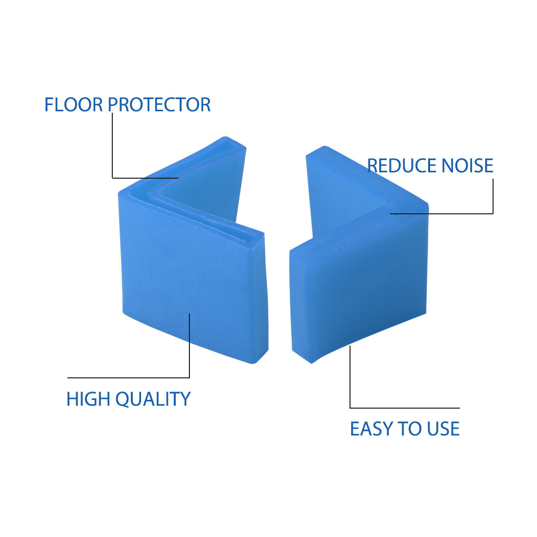 50mm x 50mm Angle Iron Foot Pad L Shaped PVC Leg Cap Floor Protector Blue 24pcs - image 5 of 7