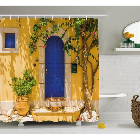 Yellow and Blue Shower Curtain, Traditional Greek House Door with Flowers and Tree Mediterranean Scenery, Fabric Bathroom Set with Hooks, 69W X 70L Inches, Multicolor, by Ambesonne (Geek Shower Curtain)