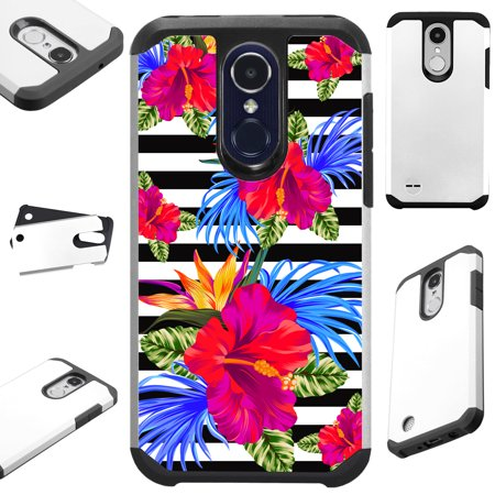 Phoenix Stripe (For LG Phoenix 4 | Phoenix 3 Case Hybrid TPU Fusion Phone Cover (Hibiscus Flower)
