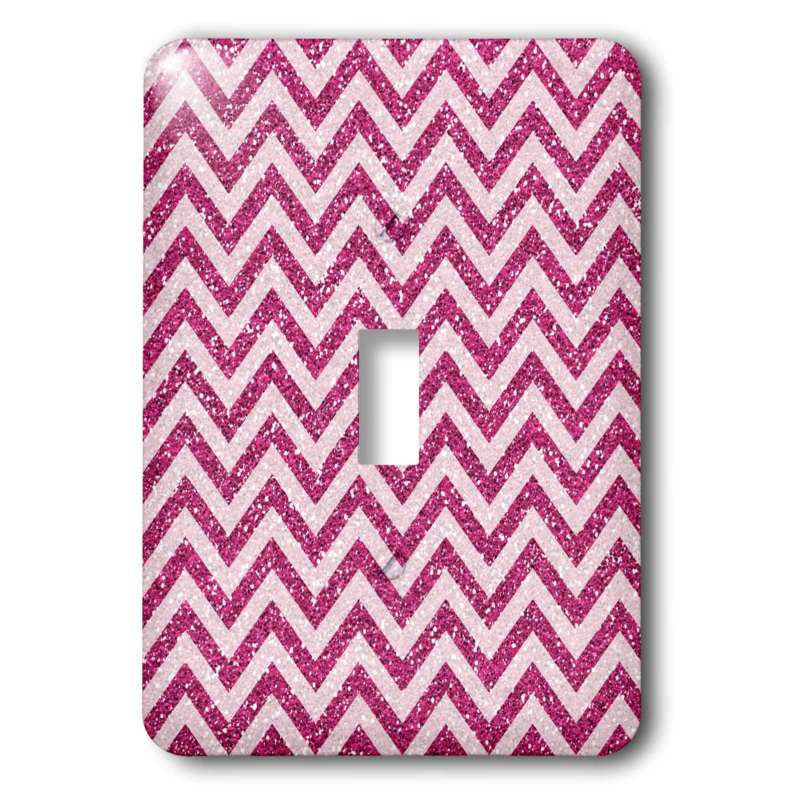 3dRose Bright Pink Glitter Effect Chevron Stripes, 2 Plug Outlet Cover