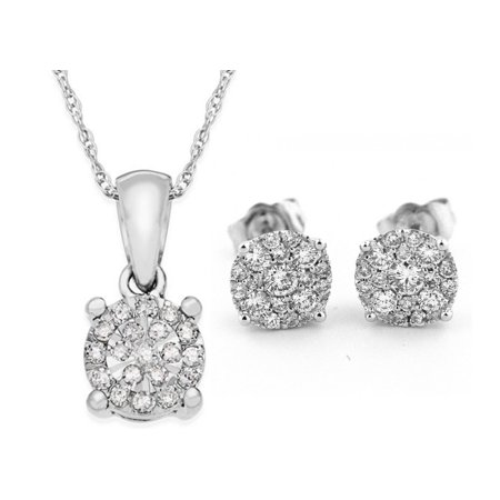 Genuine Natural 0.60 Carat Round Cut Diamond Cluster Earrings & Necklace Set In 925 Sterling Silver (Round Genuine Natural)