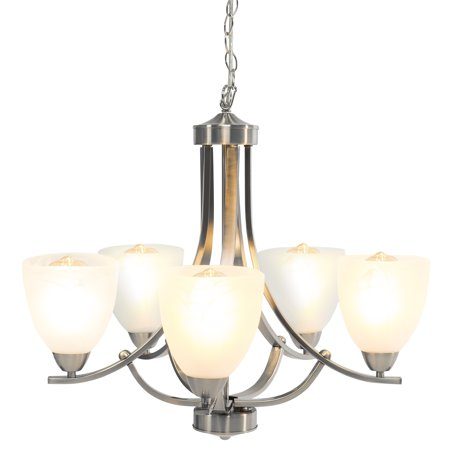 Contemporary Fixture (Best Choice Products 22in 5-Light Contemporary Chandelier Pendant Lighting Fixture for Home, Kitchen - Brushed Nickel)