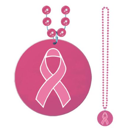 Beads With Printed Pink Ribbon Medallion - 33 Inches- Pack of -