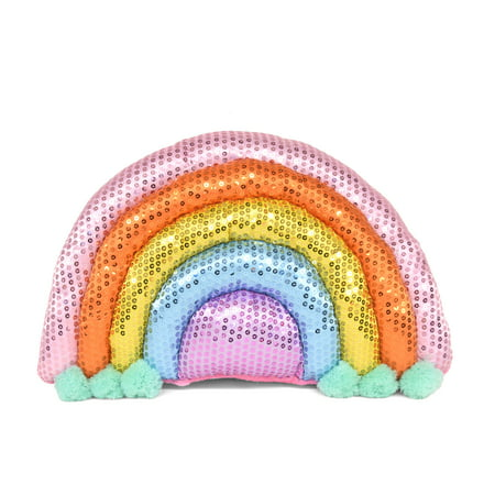 Your Zone Rainbow All Over Sequin Decorative Pillow - Rainbow Pillow