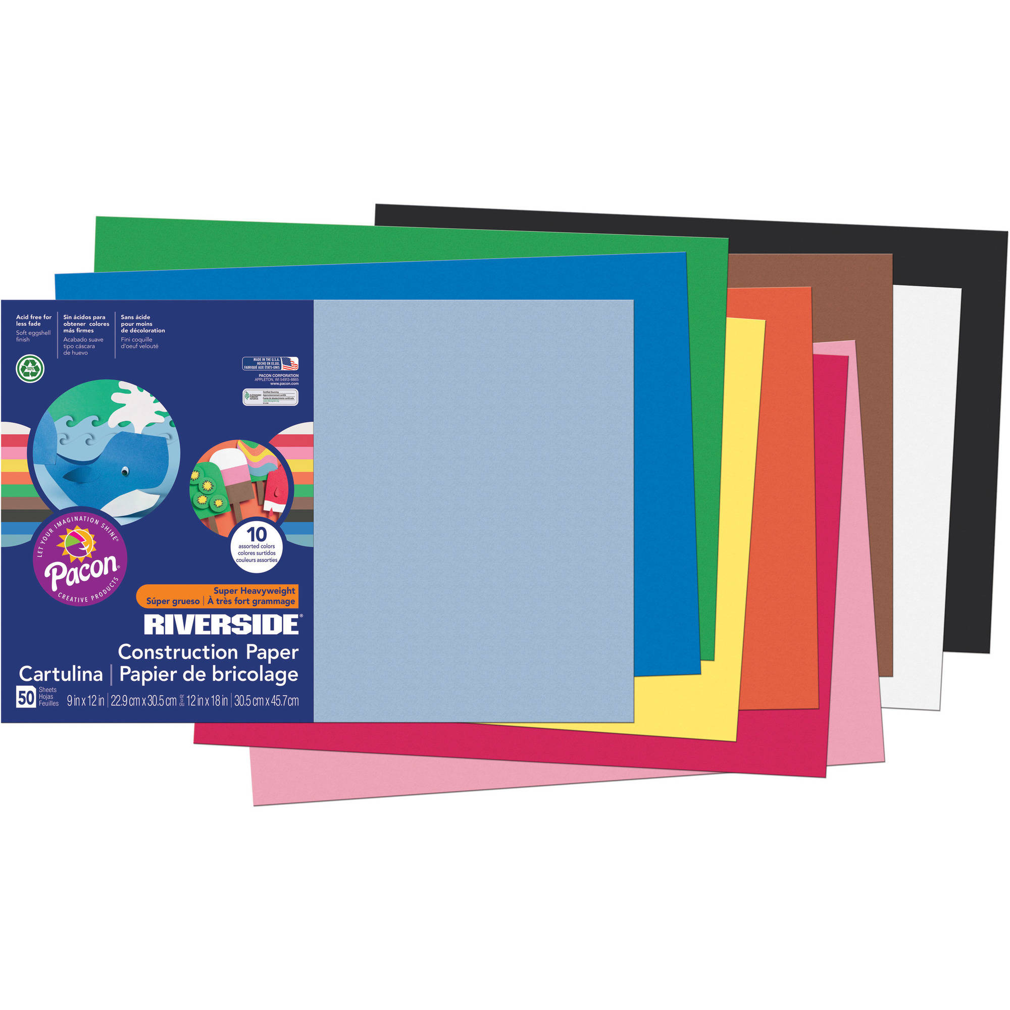 "Riverside  Construction Paper, 12"" x 18"", Assorted Colors, 50 Sheets"