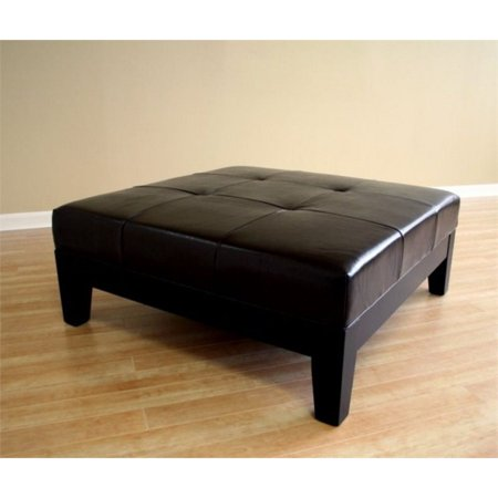Bowery hill square leather coffee table ottoman in black Black ottoman coffee table