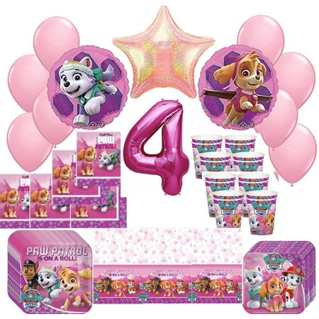 Girl Pups Paw Patrol Skye & Everest 4th Birthday Party Pack 52pc