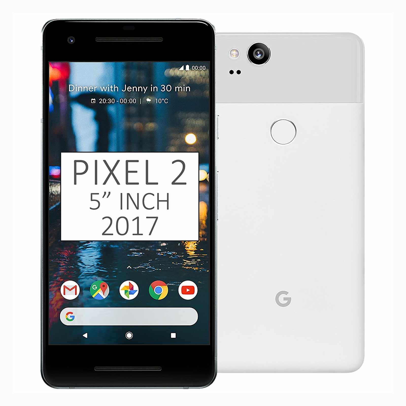 """New  Pixel 2 64GB G011A GSM + CDMA Factory Unlocked 5"""" AMOLED Display 4GB RAM 12.2MP by Google Smartphone -  Clearly White - USA Version"""