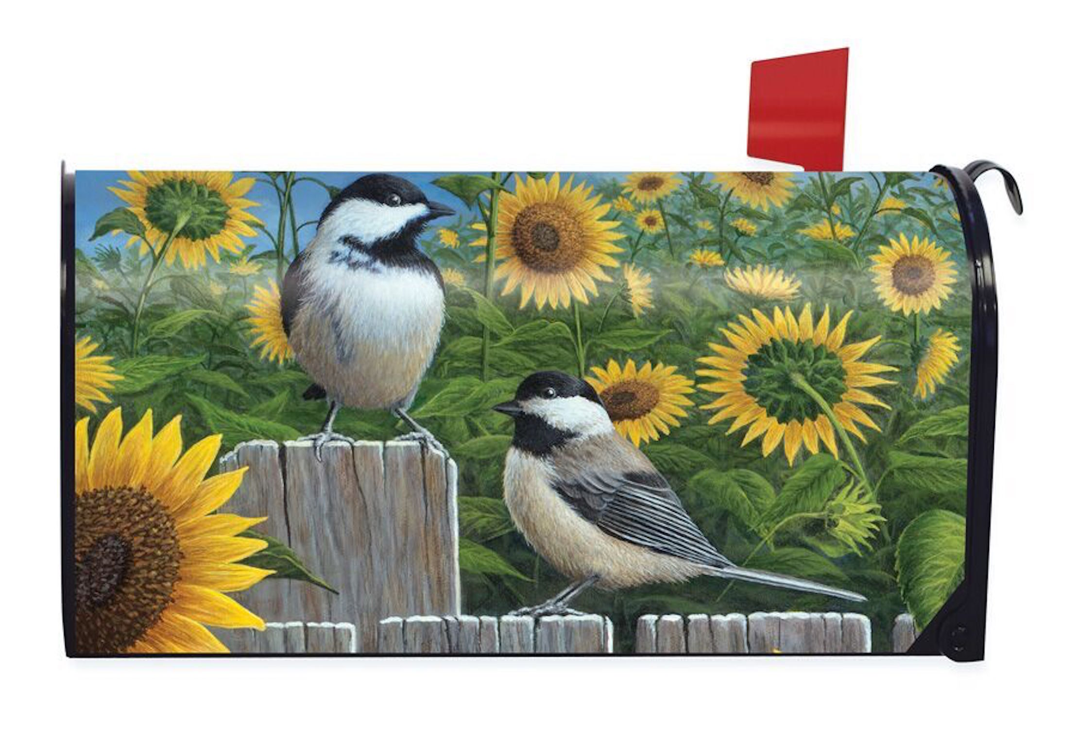 Chickadees & Sunflowers Summer Magnetic Mailbox Cover Birds Briarwood Lane by