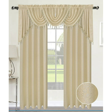 - ANGELINA DAMASK 7 PIECE CURTAIN, BEADED AUSTRIAN VALANCES AND SWAG COMPLETE SET, BEIGE