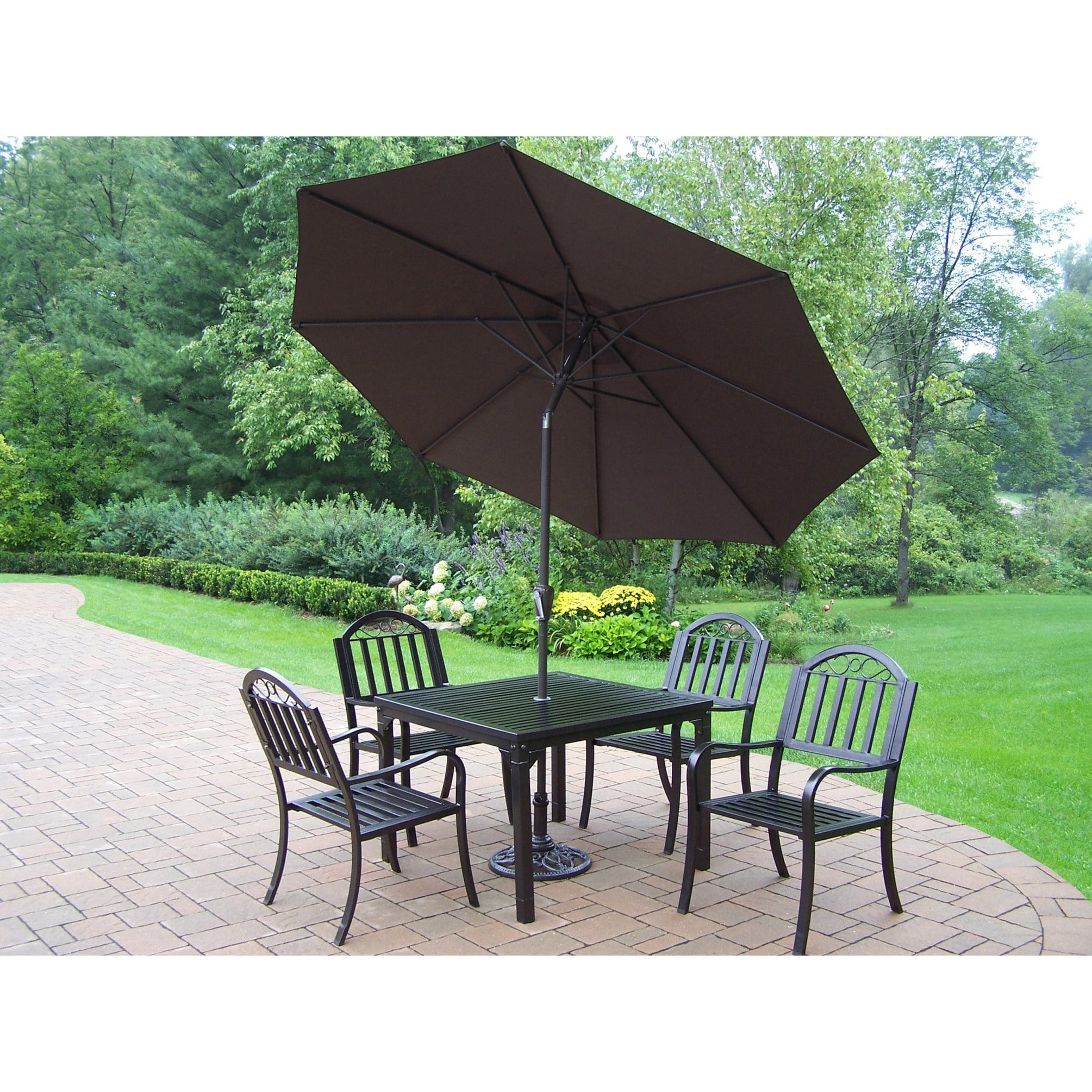 Oakland Living Corporation 7-Piece Outdoor Dining Set with Table, 4 Chairs, 9 ft Brown Umbrella