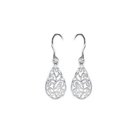 Sterling Silver Filigree Teardrop Drop Earrings
