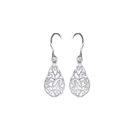 Sterling Silver Filigree Teardrop Drop Earrings (Style Filigree Earring Settings)