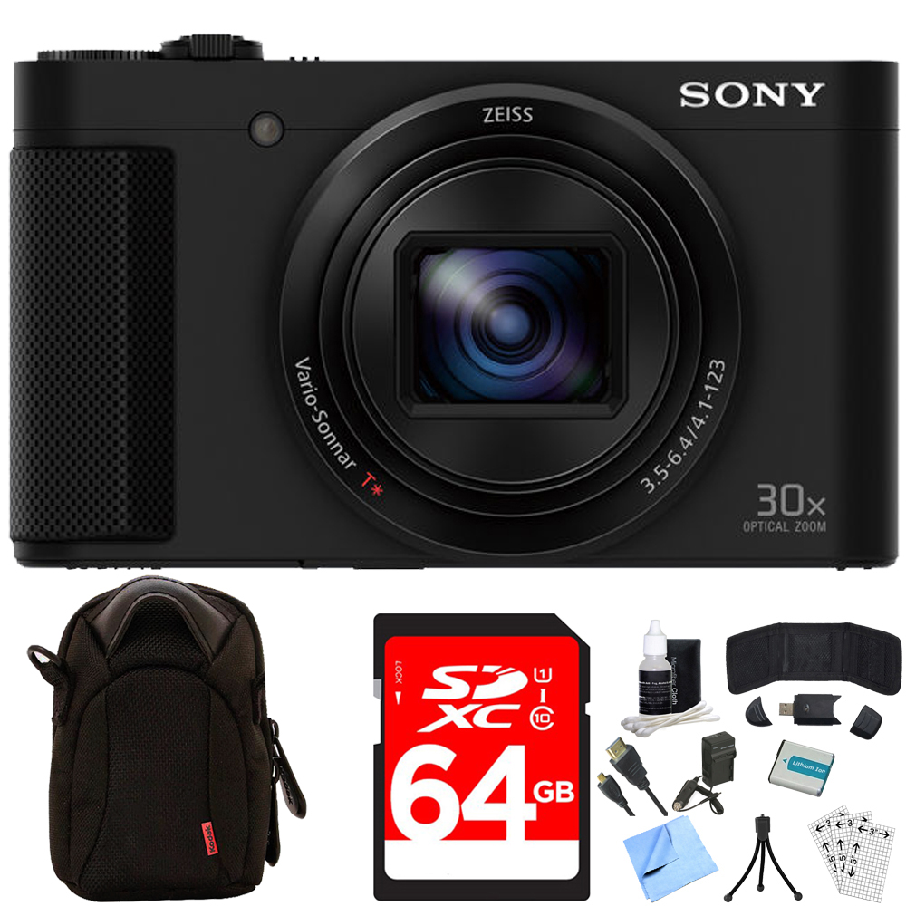 Sony Cyber-shot HX80 Compact Digital Camera 64GB Memory Card Deluxe Bundle includes Camera, Card, Reader, Wallet, Case, Mini Tripod, Screen Protectors, Cleaning Kit, Beach Camera Cloth and More!
