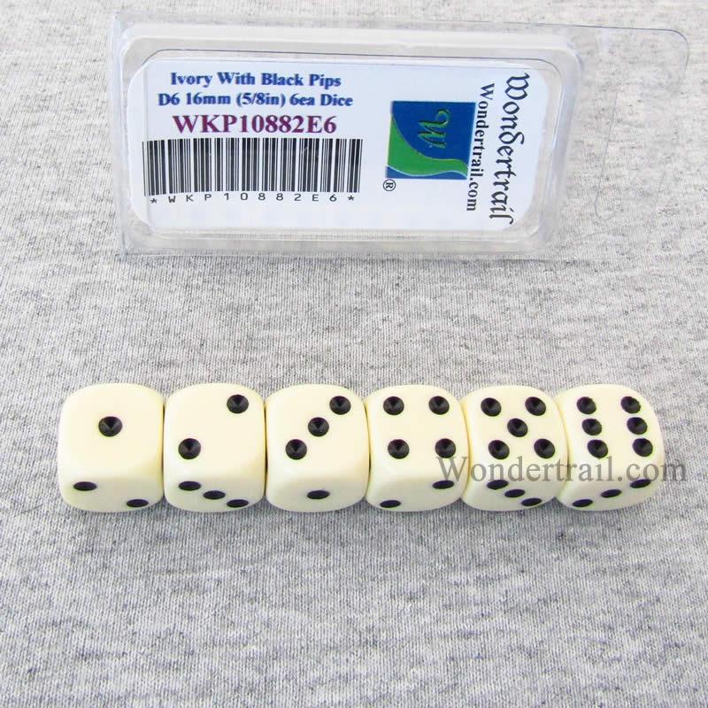 Ivory Opaque Dice with Black Pips D6 16mm (5/8in) Pack of 6 Wondertrail