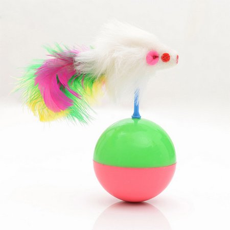 Durable Pet Cat Favorite Toys Feather Mouse Tumbler Plastic Toys Balls, Diameter: (Best Ball With Feather Cats)