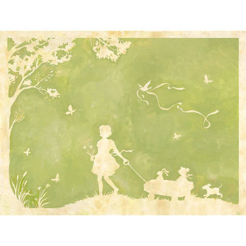 Oopsy Daisy - Toile Girl Pulling Wagon Canvas Wall Art 40x30, Heather Gentile-Collins