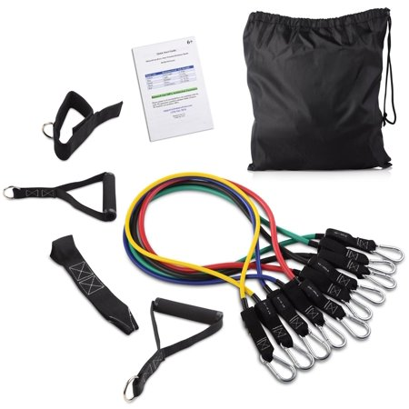 BalanceFrom Heavy Duty Premium Resistance Band Kit with Improved Safe Door Anchor, Ankle Strap and Carrying (Wing Door Kits)