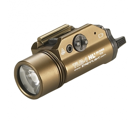 Streamlight TLR-1 HL, High Lumen Rail Mounted Tactical Light, Pistol and Picatinny, FDE Brown, C4 LED 800 Lumens With St by Streamlight