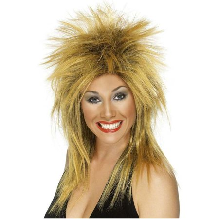 80's Rock Diva Adult Costume Long Ginger & Black Wig - Ginger Wigs