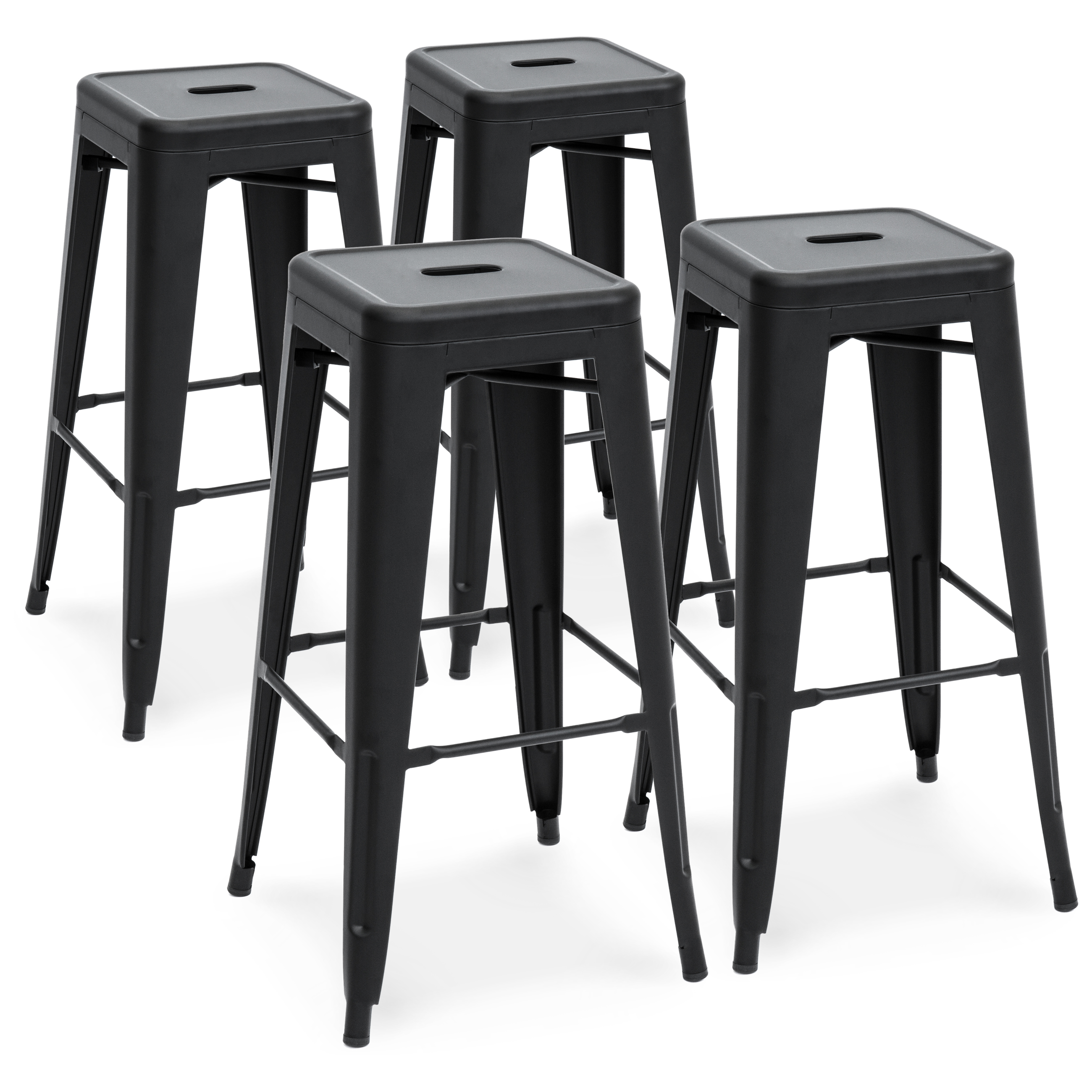 Best Choice Products 30in Set of 2 Modern Industrial Backless Metal Bar Stools - Matte Black