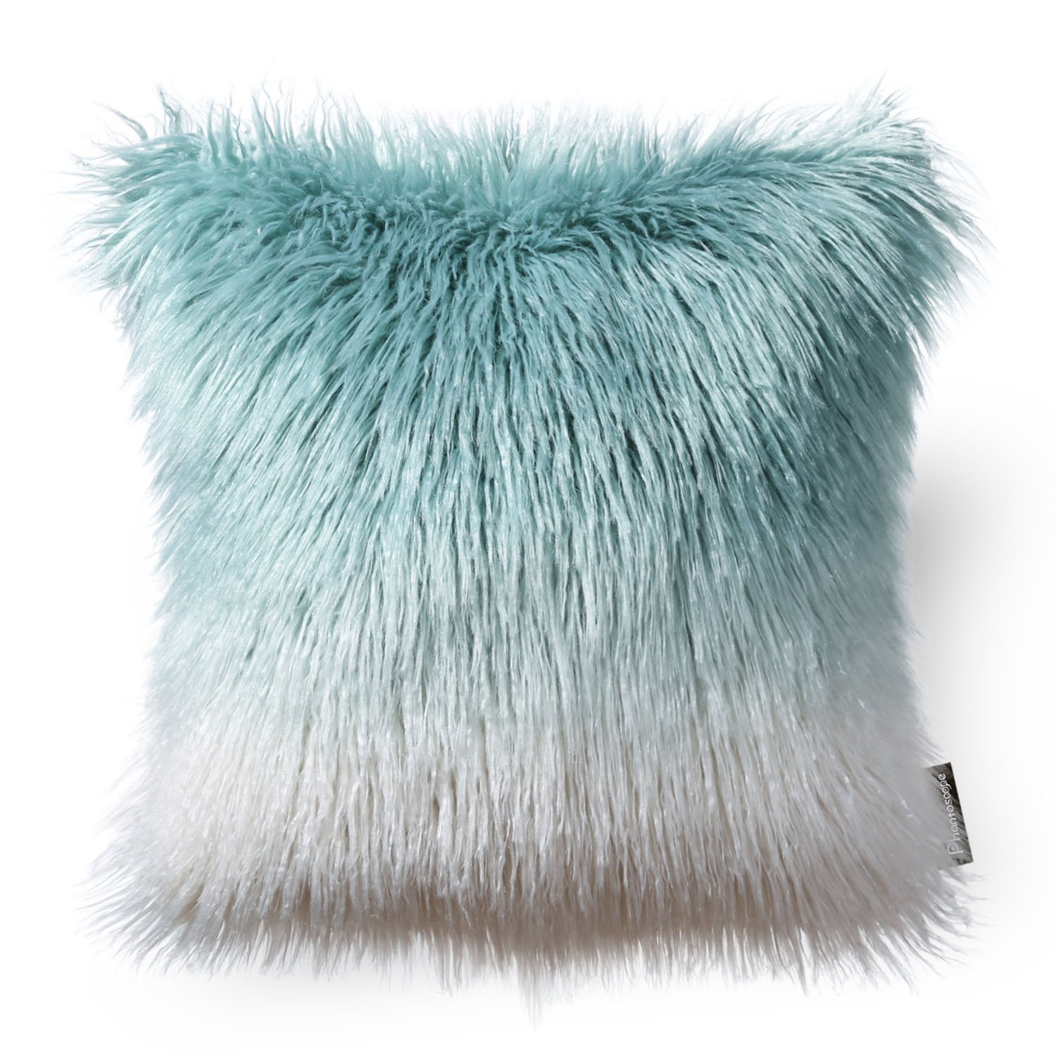 Phantoscope Decorative New Luxury Series Merino Style Multiple Color Beige Fur Throw Pillow Case Cushion Cover 18inch x 18inch