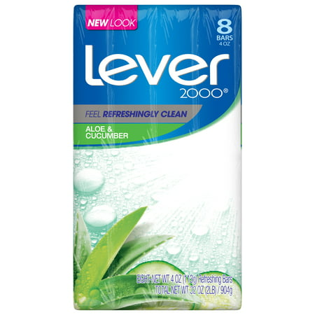 Lover Snap (Lever 2000 Aloe & Cucumber Bar Soap 4 oz, 8 bar count)