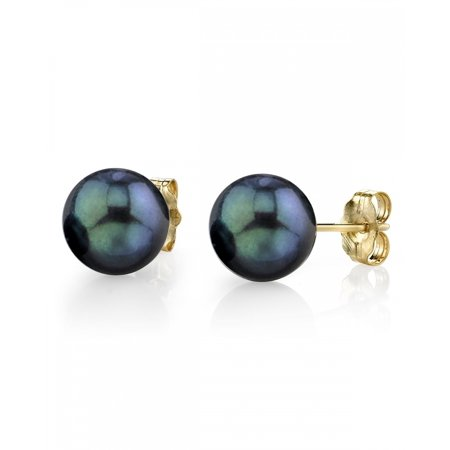 18K Gold 8.0-8.5mm Black Akoya Cultured Pearl Stud Earrings - AAA Quality