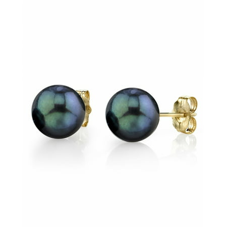 Lagos 18k Earrings (18K Gold 8.0-8.5mm Black Akoya Cultured Pearl Stud Earrings - AAA Quality )
