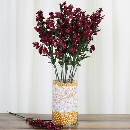 Dark Purple Silk Flowers (BalsaCircle 12 Bushes Baby Breath Silk Filler Flowers - DIY Home Wedding Party Artificial Bouquets Arrangements)