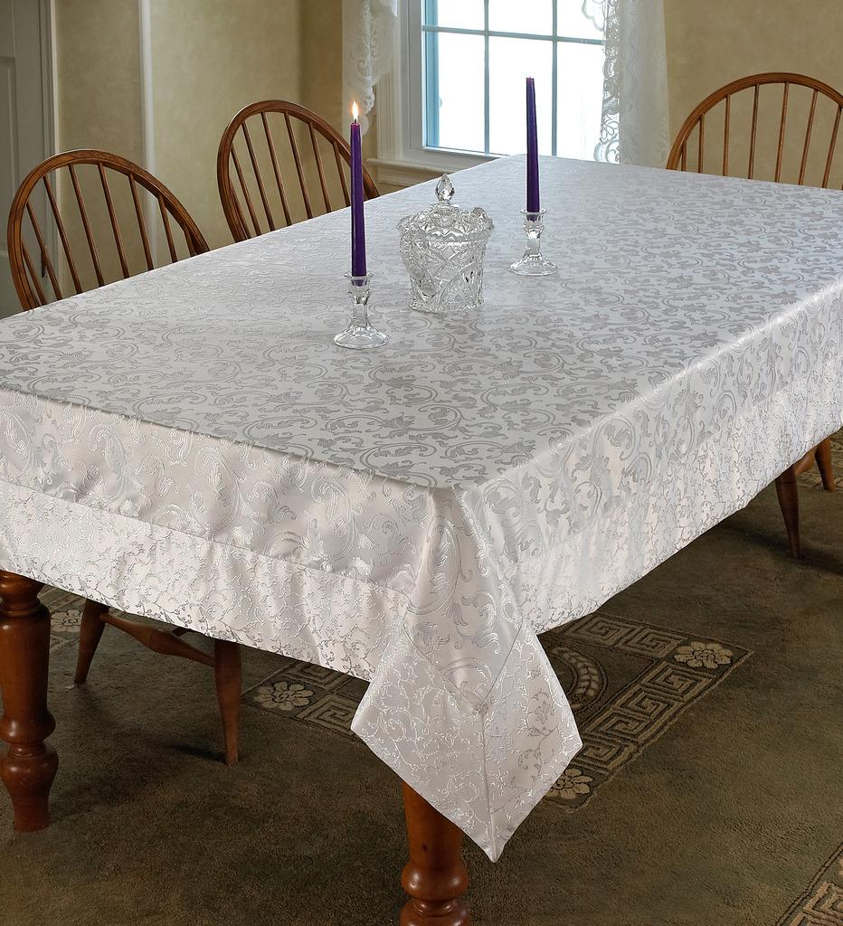 Violet Linen Princess Damask Vintage  Tablecloth
