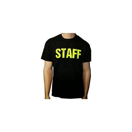 817979c3f93d1d Nyc Factory - Black Staff T-Shirt Front & Back Print Mens Event Shirt Neon  Yellow Print Tee... - Walmart.com