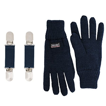 SANREMO Unisex Kids Knitted Fleece Lined Warm Winter Gloves and Glove Clips set (7-14, Navy)