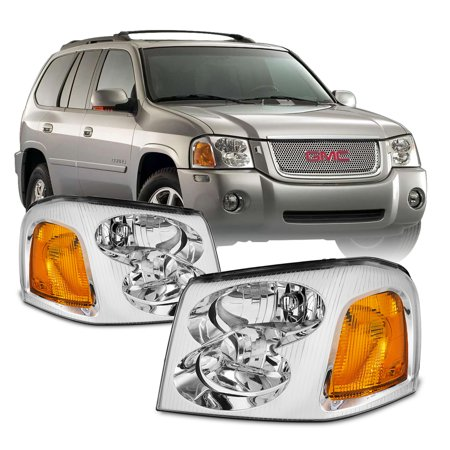 [OE Style]For 2002-2009 GMC Envoy SUV Chrome Bezel Headlight Lamp (Gmc Headlight Bezel)